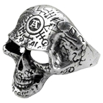 Omega Skull Ring Pewter Alchemy R122