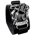 Pain is Pleasure Leather Bracelet Pewter Alchemy ULA4