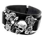 Carpe Diem Leather Bracelet Pewter Alchemy ULA7