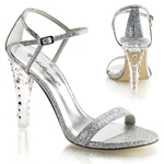 Silver Glitter Ankle Strap Sandals