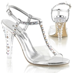 T-Strap Slingback Sandals With Rhinestone Straps & Heel