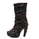 Steampunk Mid-Calf Boots In Black