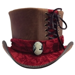 Velvet and Leather Top Hat in Brown and Burgundy