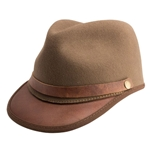 Brown Felt and Leather Cap