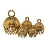 Graduated Solid Brass Elephant Bells 5 Piece 1.5 x 3 inches