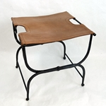Folding Medieval Stool - Iron with Leather Seat