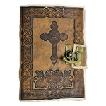 Leather Bound Celtic Cross Journal - Blank Book - 7 X 5 Inches