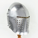 Full Visor Bascinet Helmet 14th Century - 14 Gauge Steel,Full Visor Bascinet Helmet 14th Century,Visored Bascinet Helmet 14th Century
