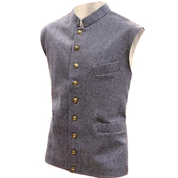 Civil War Era Wool Vest - Gray - Sky Blue