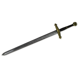 Two-Handed LARP Greatsword with Brass Colored Hilt